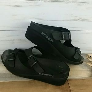 Mephisto black leather sandals 38
